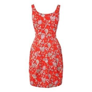 Jack Wills Red Floral Dress Back Cutout Size US 6